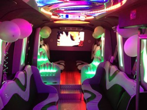 The interior of our party bus for hire in London, Essex and the South East