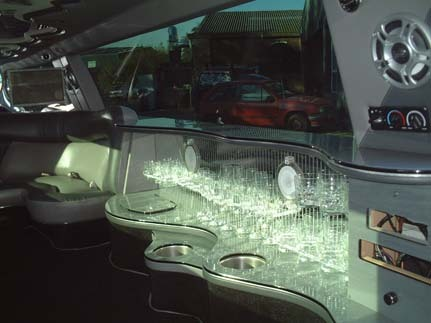 interior view of limo hire in Chelmsford and Harlow