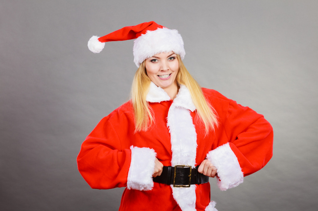 Woman in Father Christmas Costume